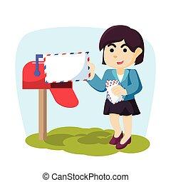 girl, receing, courrier