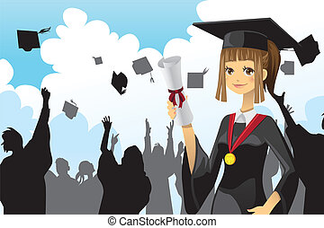 girl, remise de diplomes, tenue, diplôme