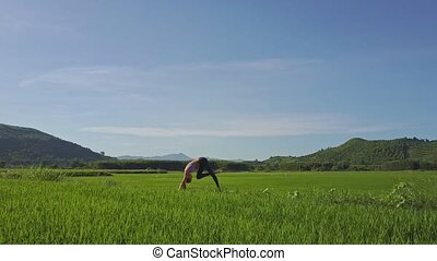 girl, riz, tient, yoga, champ, matin, pose