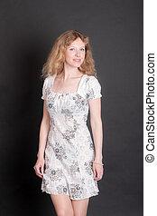 girl, robe, blanc