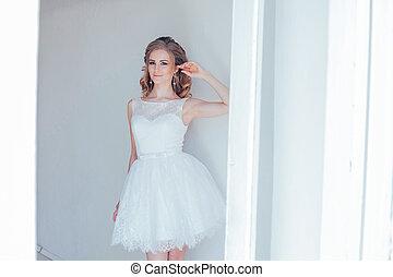 girl, robe, blanc, joli, court, mariage