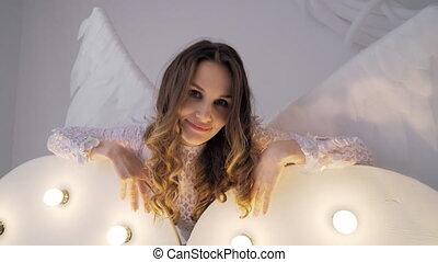 girl, robe blanche, ailes