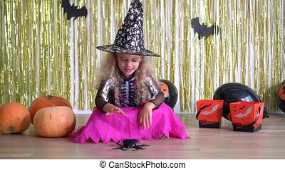 girl, robe, hat., spider., 4k, carnaval, sorcière, sortilège, halloween, magie