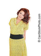 girl, robe, jaune