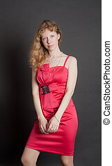 girl, robe, rouges