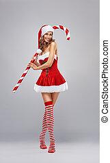 girl, robe, santa
