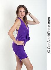 girl, robe, violet