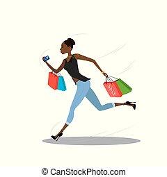 girl, sacs provisions, jeune, américain, africaine, courant