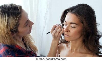 girl, salon, jeune, beauté, maquillage