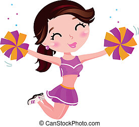 girl, sauter, isolé, blanc, cheerleader