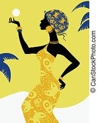 girl, silhouette, africaine