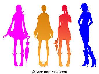 girl, silhouette