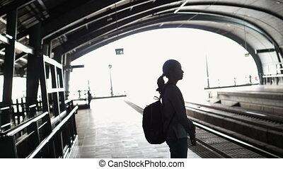 girl, silhouette, sac à dos, touriste