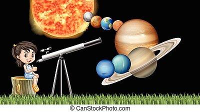 girl, solaire, télescope, apprentissage, système