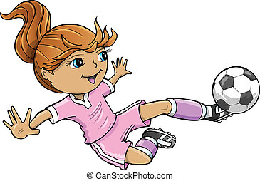 girl, sports été, football, vecteur