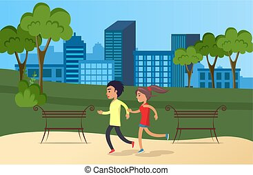 girl, sports, matin, athlètes, park., courant, fond, jogging, type, couple, city.