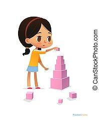 girl, stands, sombre, vecteur, clair, pyramide, jeux, illustration, cheveux, jardin enfants, grand, coloré, divertissement, bannière, website., blocks., utilisation, concept., enfant, affiche, cubes., rose, constructions