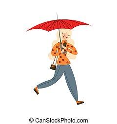girl, style., umbrella., blond-haired, illustration, mignon, vecteur, dessin animé, courant, plat