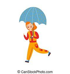girl, style., umbrella., illustration, mignon, vecteur, roux, dessin animé, courant, plat