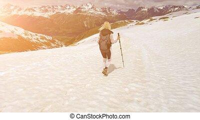 girl, suisse, trekking, polonais