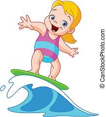 girl, surfer