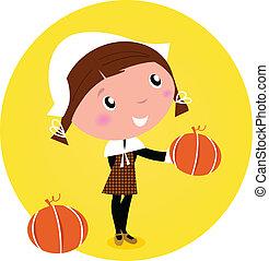 girl, /, tête, -, mignon, isolé, white., vecteur, citrouille, pèlerin, thanksgiving, dessin animé, illustration.
