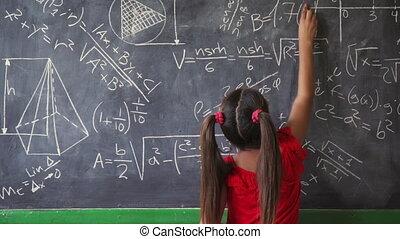 girl, tableau noir, écriture, sourire, classe, heureux