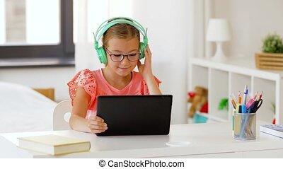 girl, tablette, maison, écouteurs, informatique