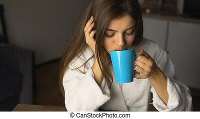girl, temps, café, apprécie