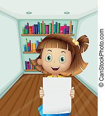 girl, tenant papier, vide, intérieur, salle
