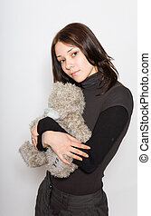 girl, tenir ours nounours, bras, elle