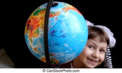 girl, terre, globe