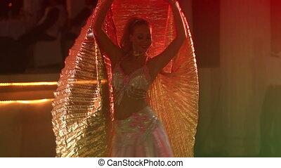 girl, théâtral, déguisement, ailes, blond, ventre, danses