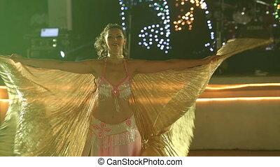 girl, théâtral, déguisement, ailes, jeune, vagues