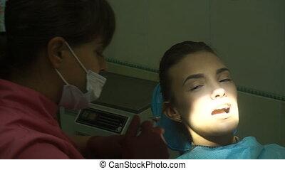 girl, traite, jeune, dents