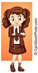 girl, uniforme, heureux, brun