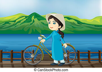 girl, vélo, banc