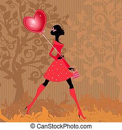 girl, valentines, balloon