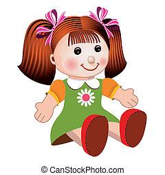 girl, vecteur, illustration, poupée