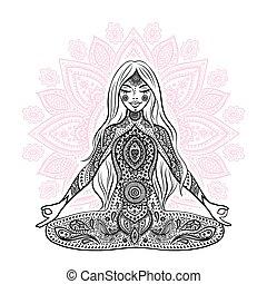 girl, vendange, méditation, illustration., pose