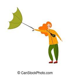 girl, vent, overturns, style., umbrella., illustration, mignon, vecteur, debout, roux, dessin animé, plat