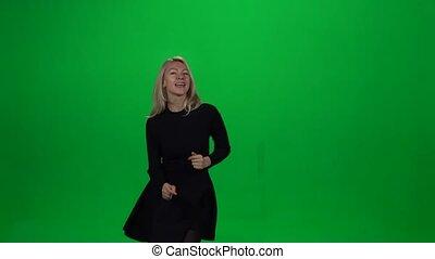girl, vert, screen., danser.