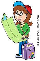 girl, voyageur, dessin animé
