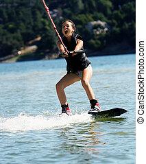 girl, wakeboarding