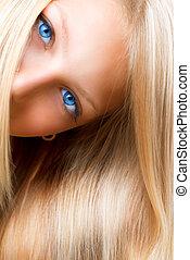 girl, yeux, bleu, hair., blonds, blond