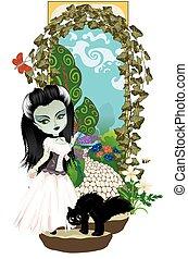 girl, zombi, jardin, top secret