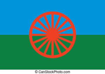 gitan, -, vecteur, drapeau, (roma)