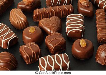 glaçage, beaucoup, chocolat, sombre, candys, fond, appétissant