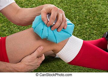 glaçage, glace, joueur, genou, football, meute