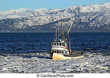 glacé, baie, bateau pêche, classique